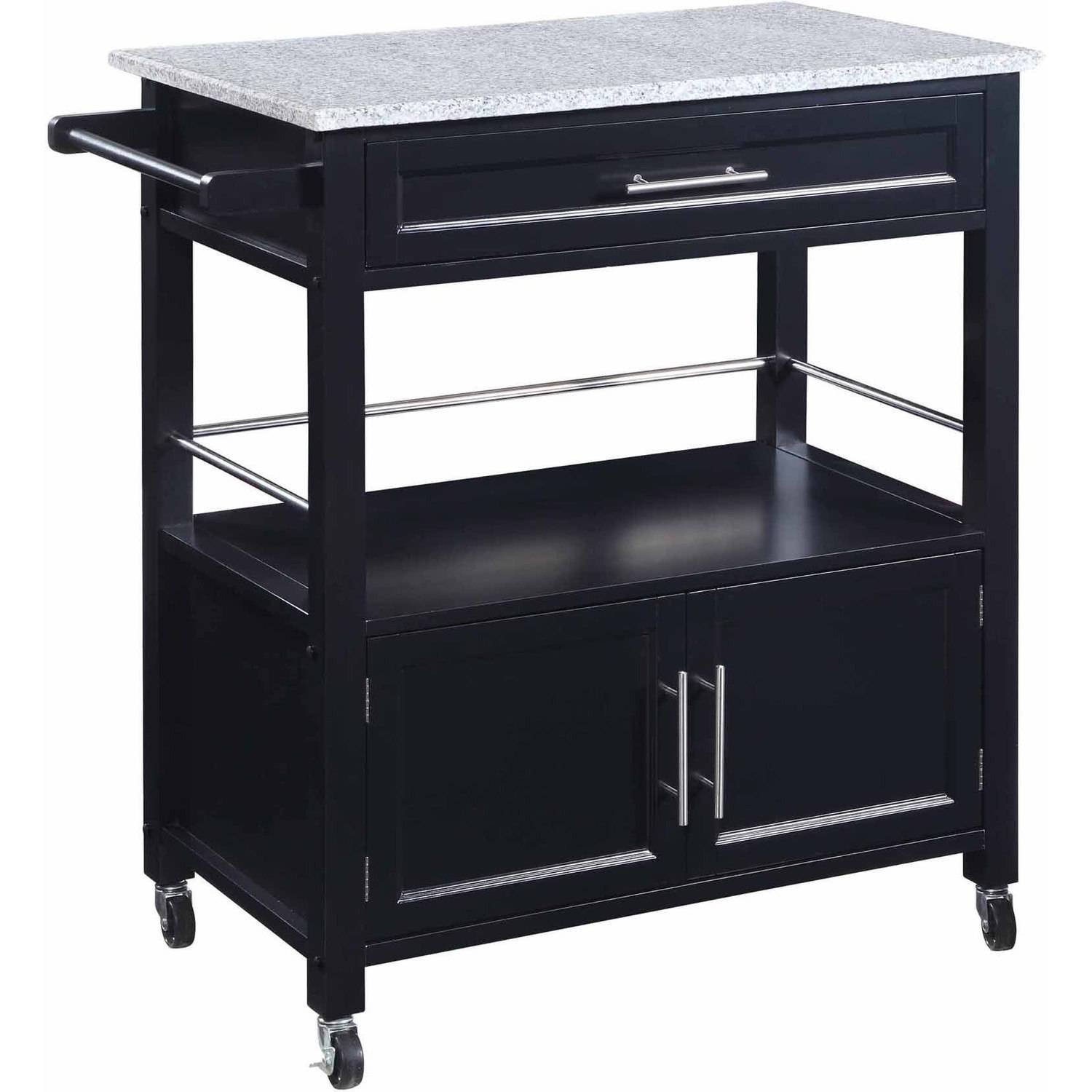 Cameron Kitchen Cart with Granite Top, Black Finish