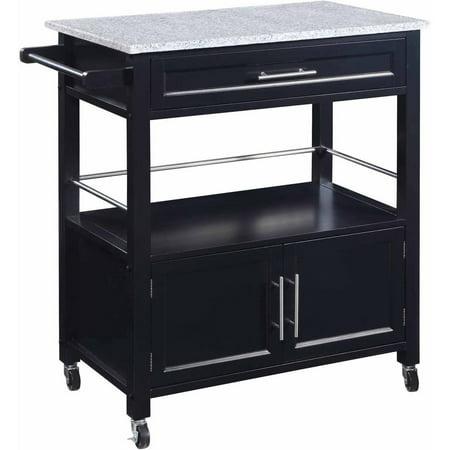Cameron Kitchen Cart With Granite Top  Black Finish