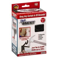 Spark Innovators Tap Bracket Curtain Rod Mounting Brackets, No Drilling No Holes in Wall