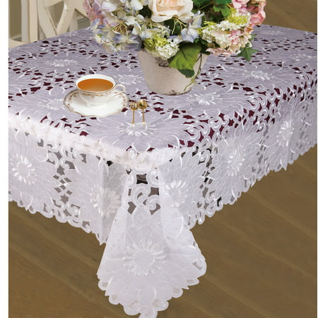 Cabernet Embroidered Sunflowers With Cutwork Tablecloths