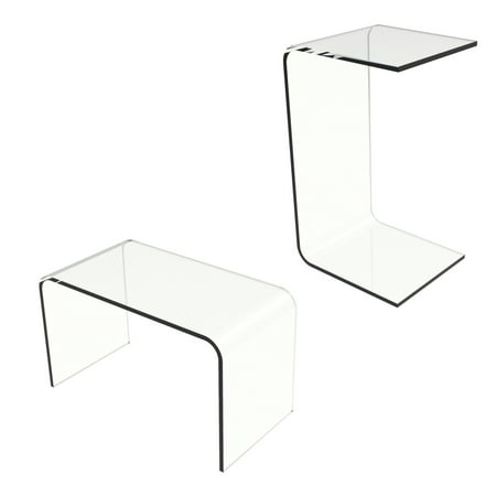 Acrylic Side Table-Modern C-Style Vertical End Table or Lap