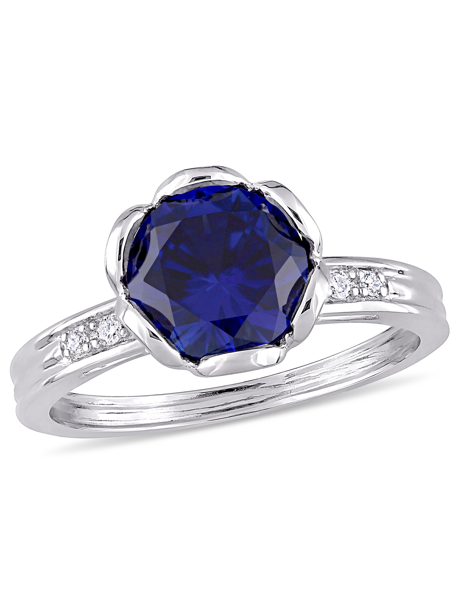 Tangelo 2-3/8 Carat T.G.W. Created Blue Sapphire and 1/8 Carat T.W. Diamond 10kt White Gold Floral Engagement Ring