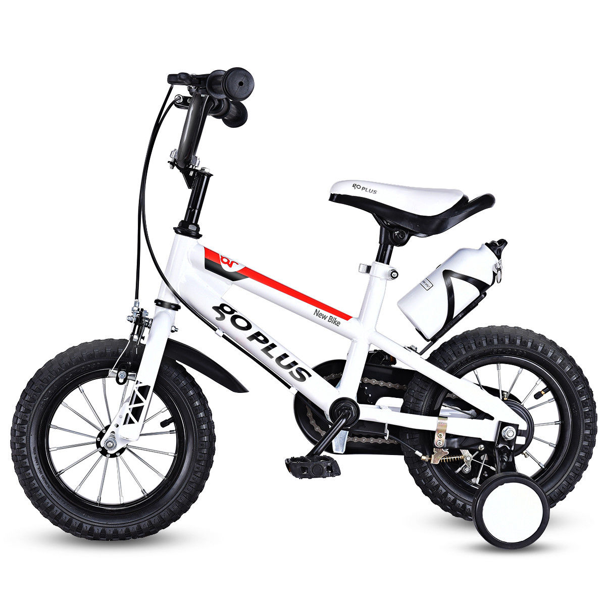 Goplus 12'' Freestyle Kids Bike Bicycle Children Boys & Girls w Training Wheels White by Costway