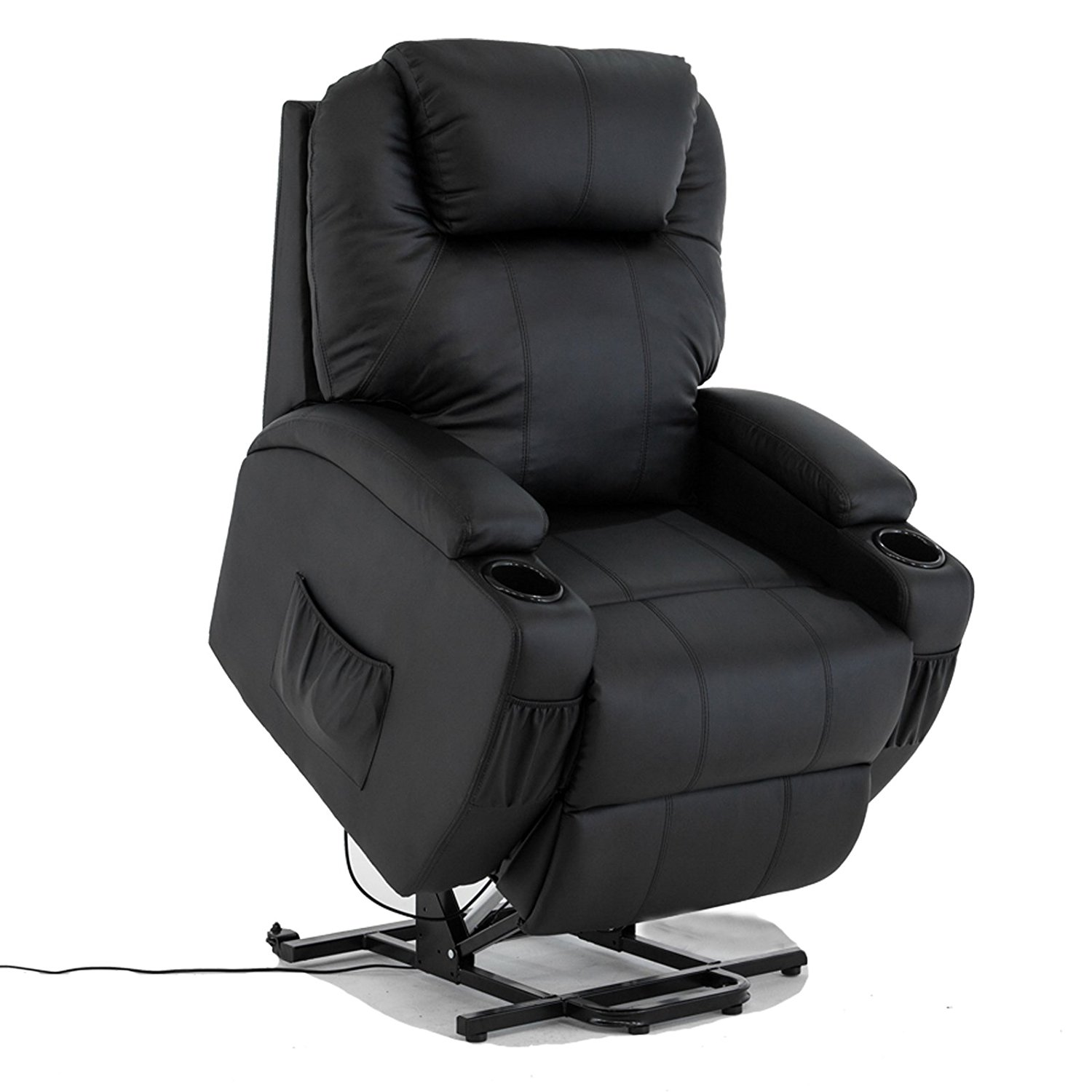 Mecor Power Lift Chair Recliner Armchair Real Leather Wall Hugger Lounge Seat Brown Com