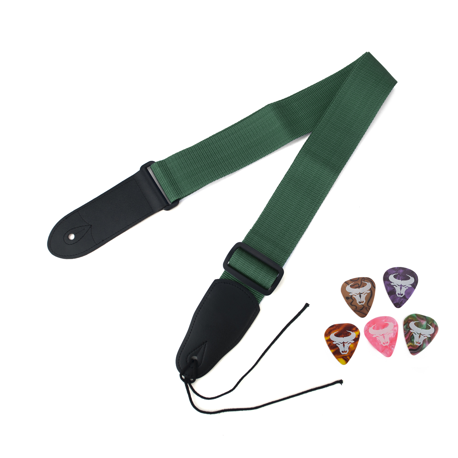 Aspire Guitar Strap Bass Strap with Leather Ends, 5 Pcs Guitar Picks, Ties for Acoustic Guitars-Blue
