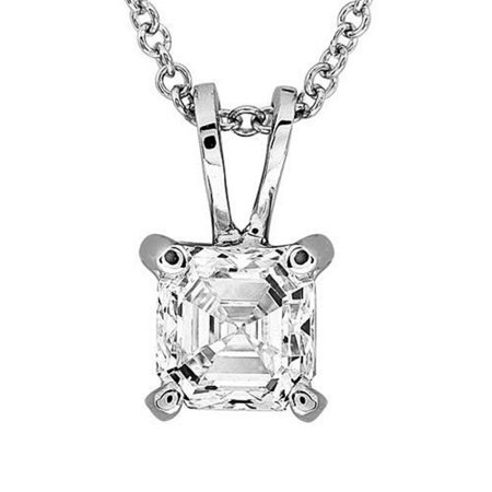 Harry Chad Enterprises HC10165 1 CT 14K White Gold Asscher Cut Solitaire Diamond Pendant Necklace