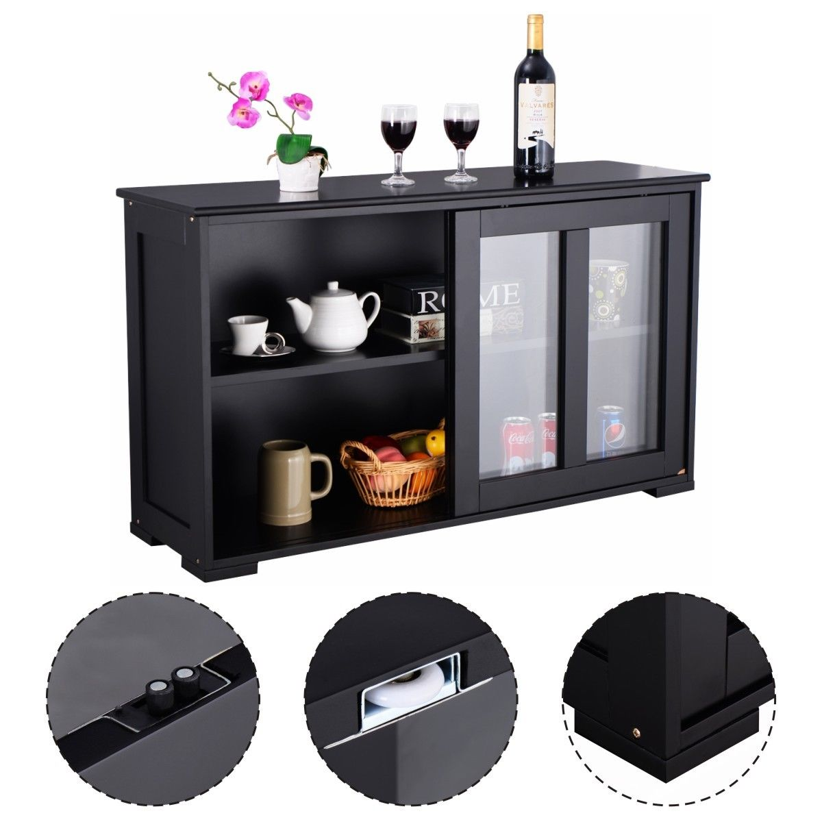 kitchen storage cabinets walmart costway storage cabinet sideboard buffet cupboard glass 22055