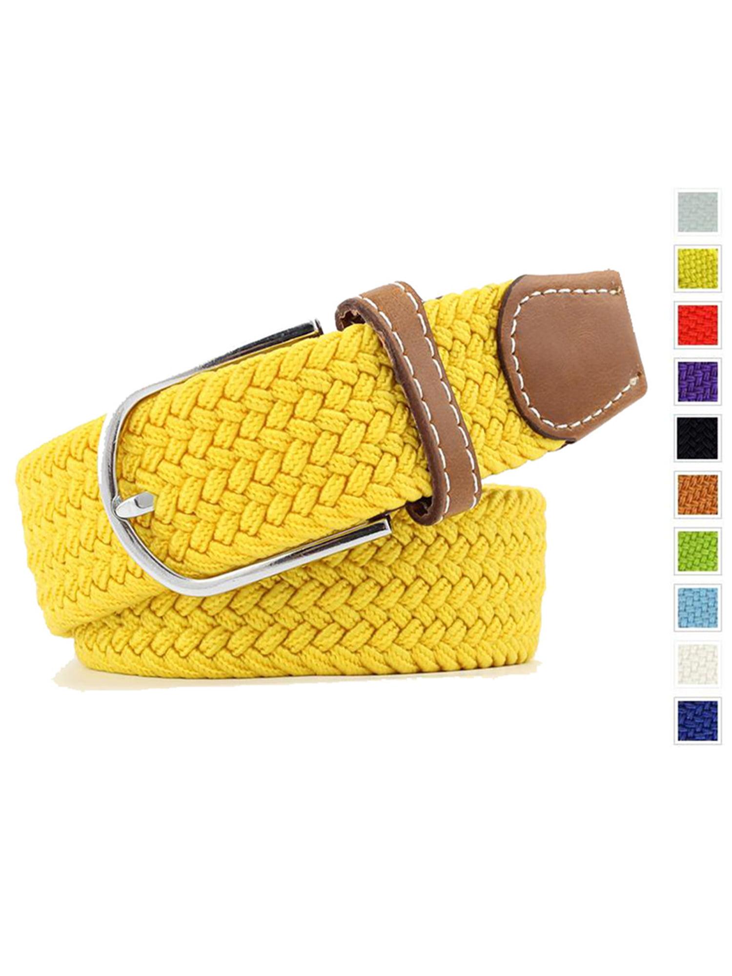 Men's Braided Stretch Belts PU Leather Elastic Fabric Woven Webbing Belt Yellow