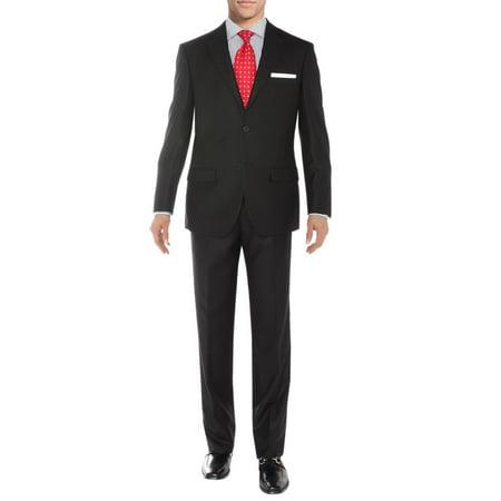 Sharkskin Jacket (Salvatore Exte Men's Suit Two Button Side Vent Jacket Flat Front Pants Sharkskin Black )