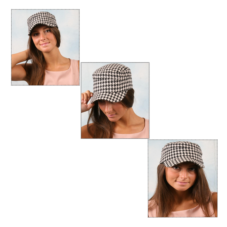 62da9b386a8b55 Pop Fashionwear Inc - Women's Hounds Tooth Checked Military Cadet Style Hat  305HT - Walmart.com