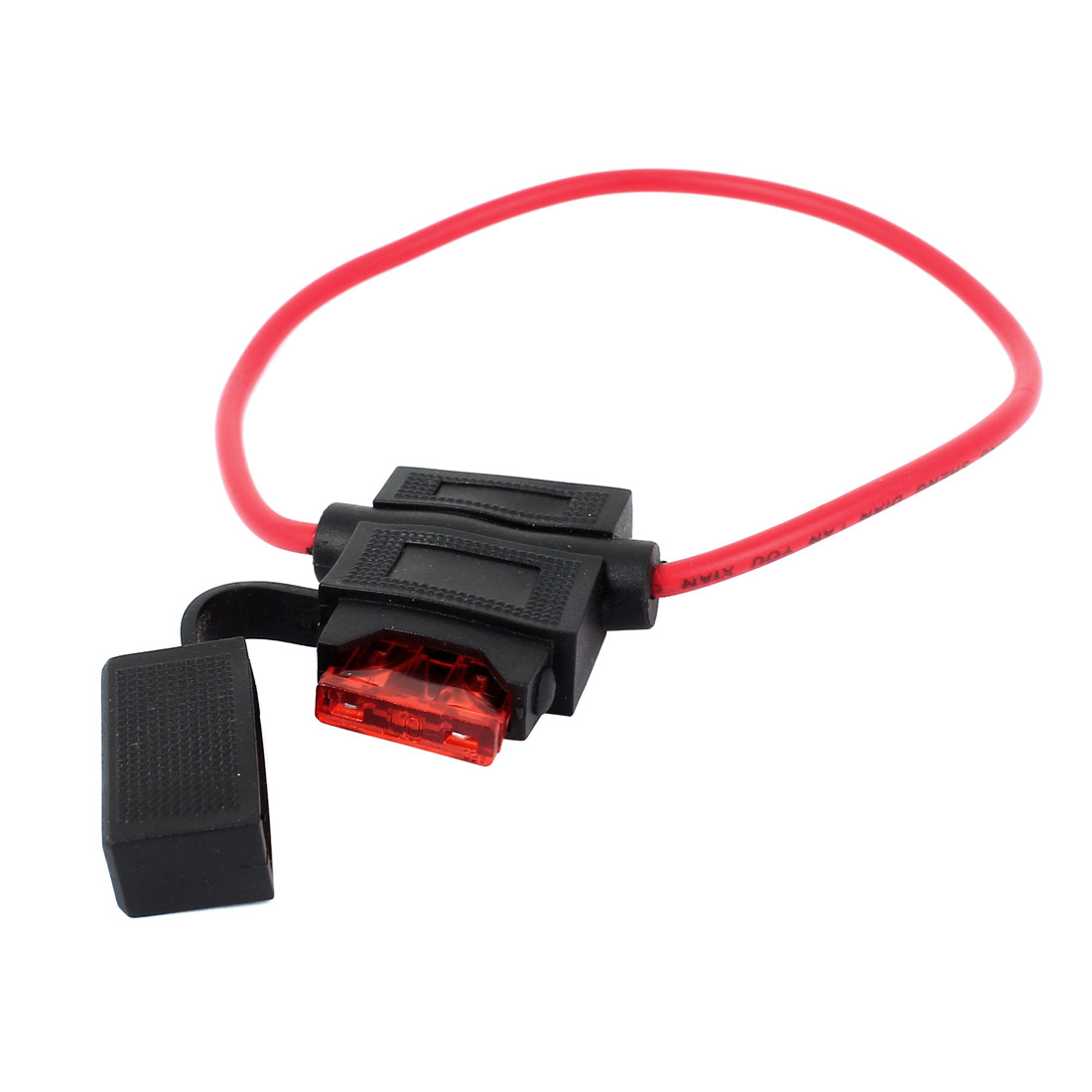 Unique Bargains Vehicle Car Waterproof Blade Type Inline Fuse Holder Case Black Red 32V 10A