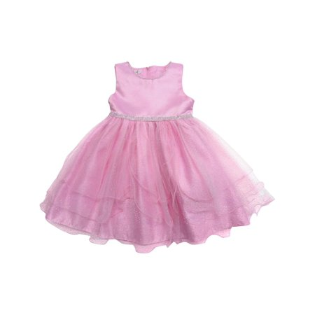 Little Girls Pink Shimmery Dot Overlaid Satin Elegant Flower Girl Dress