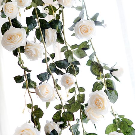 6 Feet Hand-made Artificial Silk Rose Vines Decorative Fake Rose Flower for Home Wall Garden Wedding Party Decor Color:White