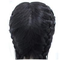 〖Follure〗Synthetic Baby Hair Braided Double Lace Front Wig Long Black Ombre Black Wigs