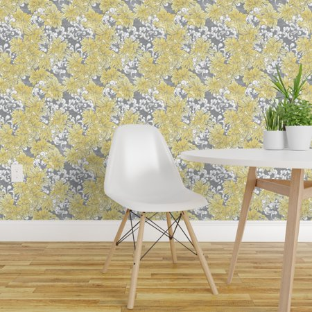 Removable Water Activated Wallpaper Yellow Floral Spring Flower Garden