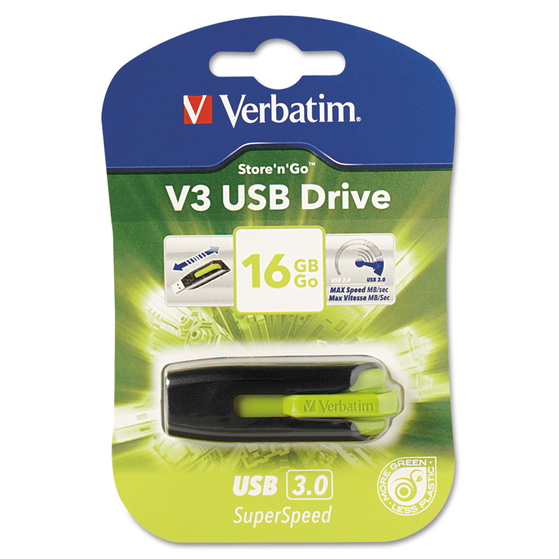 Verbatim Store 'n' Go V3 USB 3.0 Drive, 16GB, Black/Green -VER49177