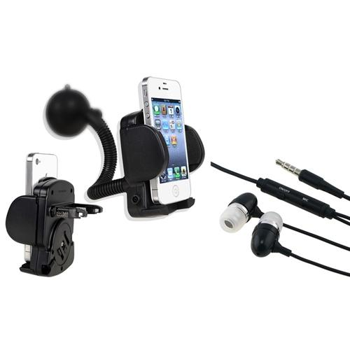 Insten Car Mount Phone Holder For Apple iPhone 6 6S SE 5 5S 5C 4S 4 + 3.5mm Black Headset Hands-free Earphone with Mic