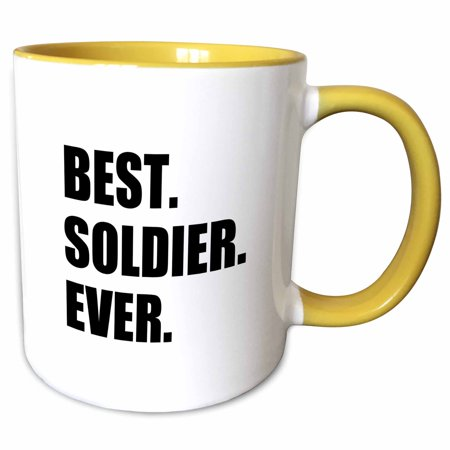 3dRose Best Soldier Ever - fun job pride gift for worlds greatest army guy - Two Tone Yellow Mug,