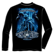 USMC Never Forget Fallen Soldier 9/11 Long Sleeve T-Shirt by , Black