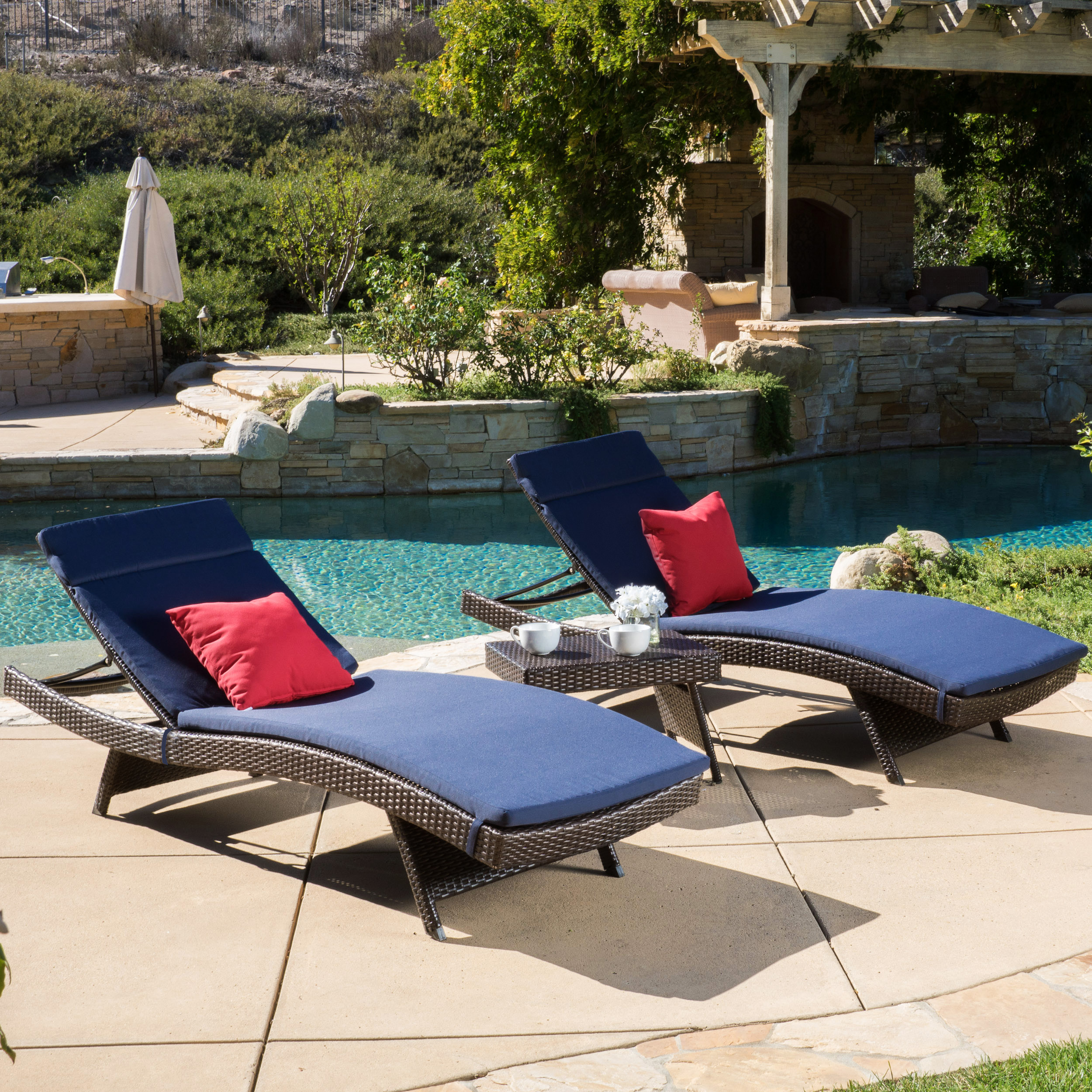 Noble House Brown Outdoor Chaise Lounger Set with Navy Cushions by Noble House