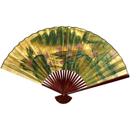 Gold Leaf Mountain Landscape Fan