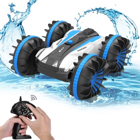 Car Racing Card (ALLCACA 2.4G RC Car Boat Land Water RC Stunt Car Double Sided Remote Control Off-road Vehicle Amphibious RC Racing Car with 360° Rotation, Blue )
