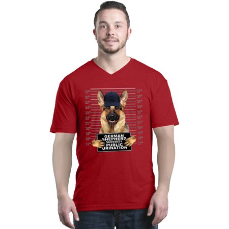 Shop4ever Mens German Shepherd Mug Shot Public Urination Dog V Neck T Shirt Shirts