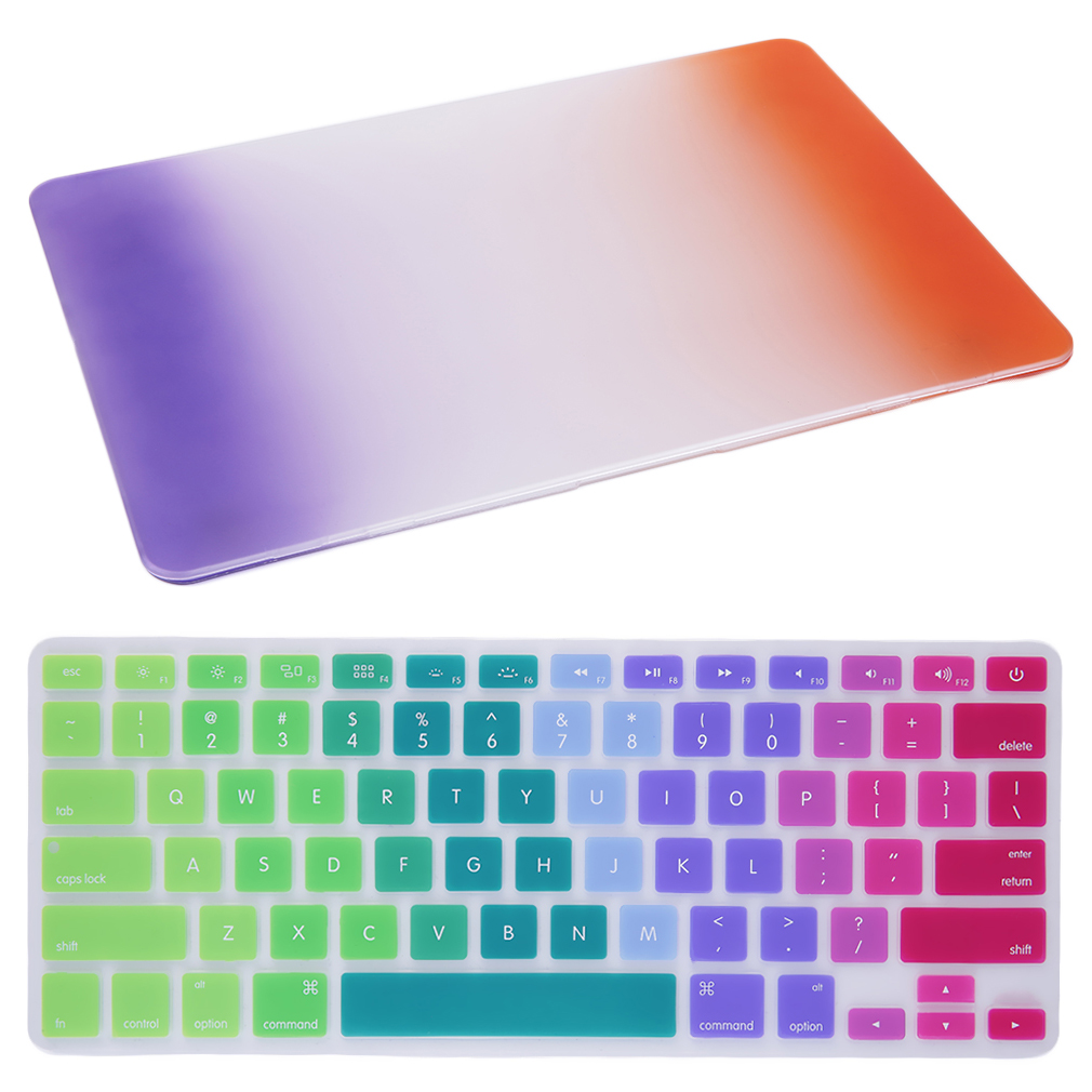 15 Inch Scrub Anti-Slip Flexible Washable Hard Rubberized Case + Ultra-Thin Durable Keyboard Cover For MacBook Pro Retina 15