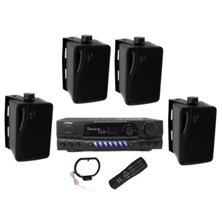 """4) Pyle PLMR24B 3.5"""" 200W Box Speakers + PT260A Home Digital Stereo Receiver by"""