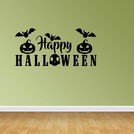Wall Decal Quote Halloween Scene Happy Halloween Vinyl Decal Halloween Sign Vinyl Wall Window Removable Decals Stickers JP664