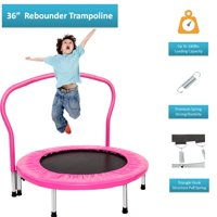 """36"""" Mini Rebounder Trampoline with Handrail, BTMWAY In-home Indoor Kids' Jump Trampolines with Handrail and Safety Padded Cover Protection, Small Toddlers Trampoline for 10+ Years Old Kid, Pink, R081"""