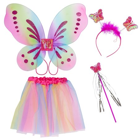 Fly Costume Wings (Lux Accessories Pastel Fairy Skirt Butterfly Wing Fashion Headband Costume)