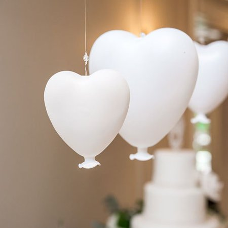 Blown Glass Hanging - Small White Blown Glass Hanging Heart Decoration