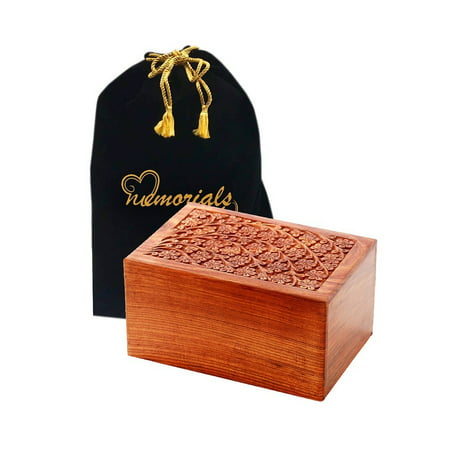 Memorials4u Solid Rosewood Cremation Urn with Hand-Carved Real Tree Design for Human Ashes - Adult Funeral Urn Handcrafted and Engraved - Affordable Urn for Ashes - Wood Urn (Tree of Life) Rose Design Urn