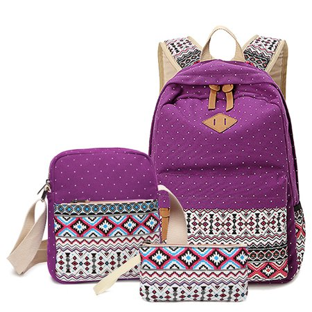 3 in1 handbags cotton canvas shoulder bag travel backpack national wind casual student bag