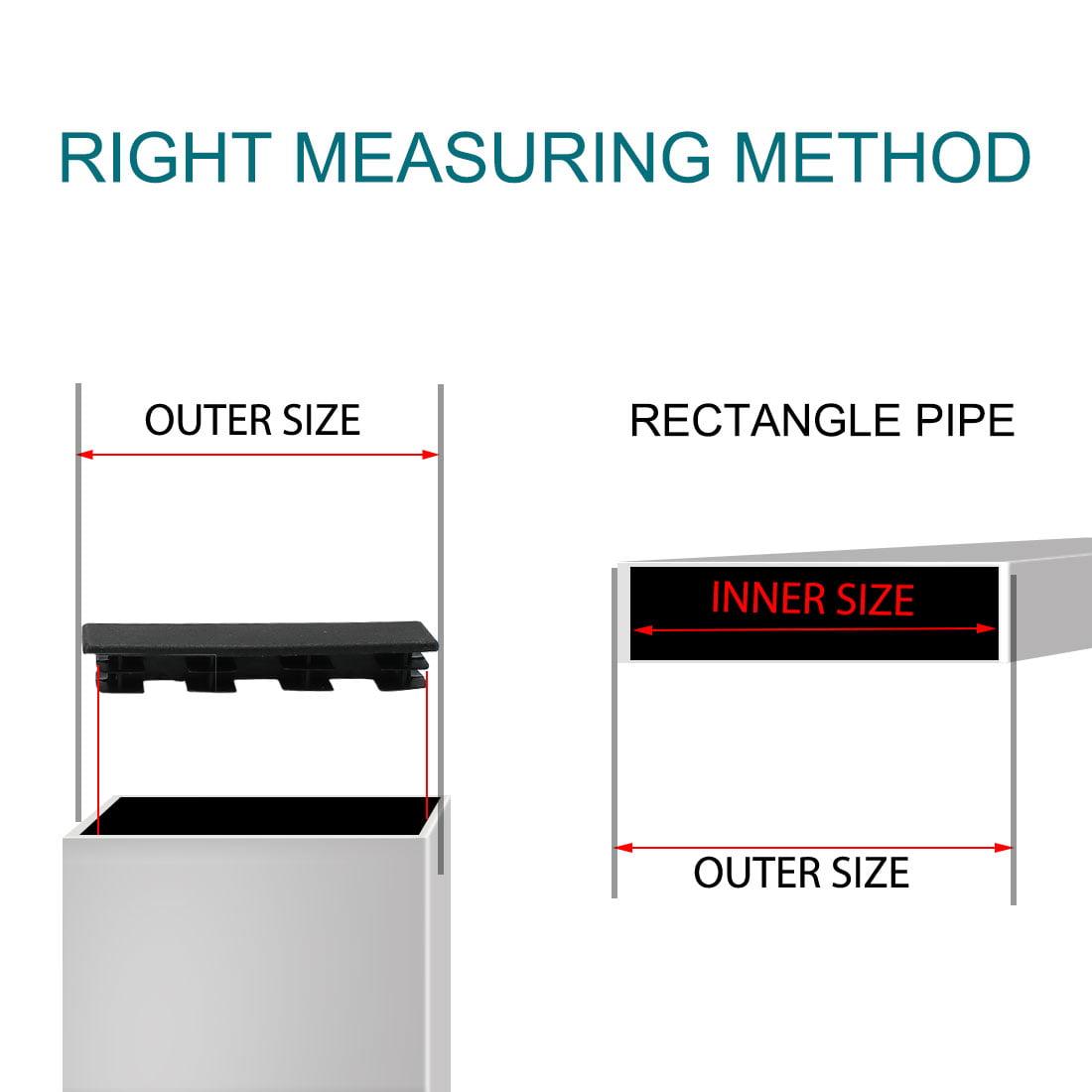 20 x 100mm Plastic Rectangle Ribbed Tube Inserts Furniture Floor Protector 60pcs - image 6 de 7