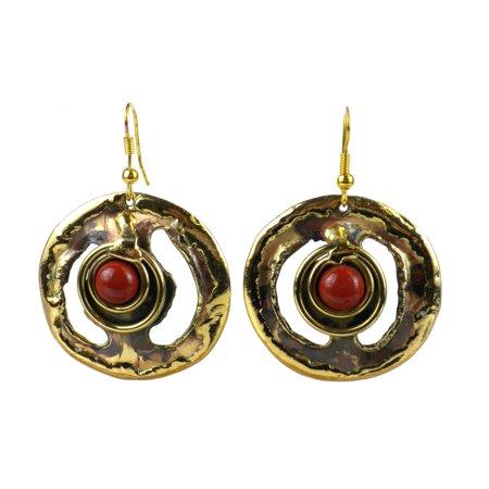 Global Crafts Handmade Earth's Core Red Jasper Brass Earrings (South Africa)