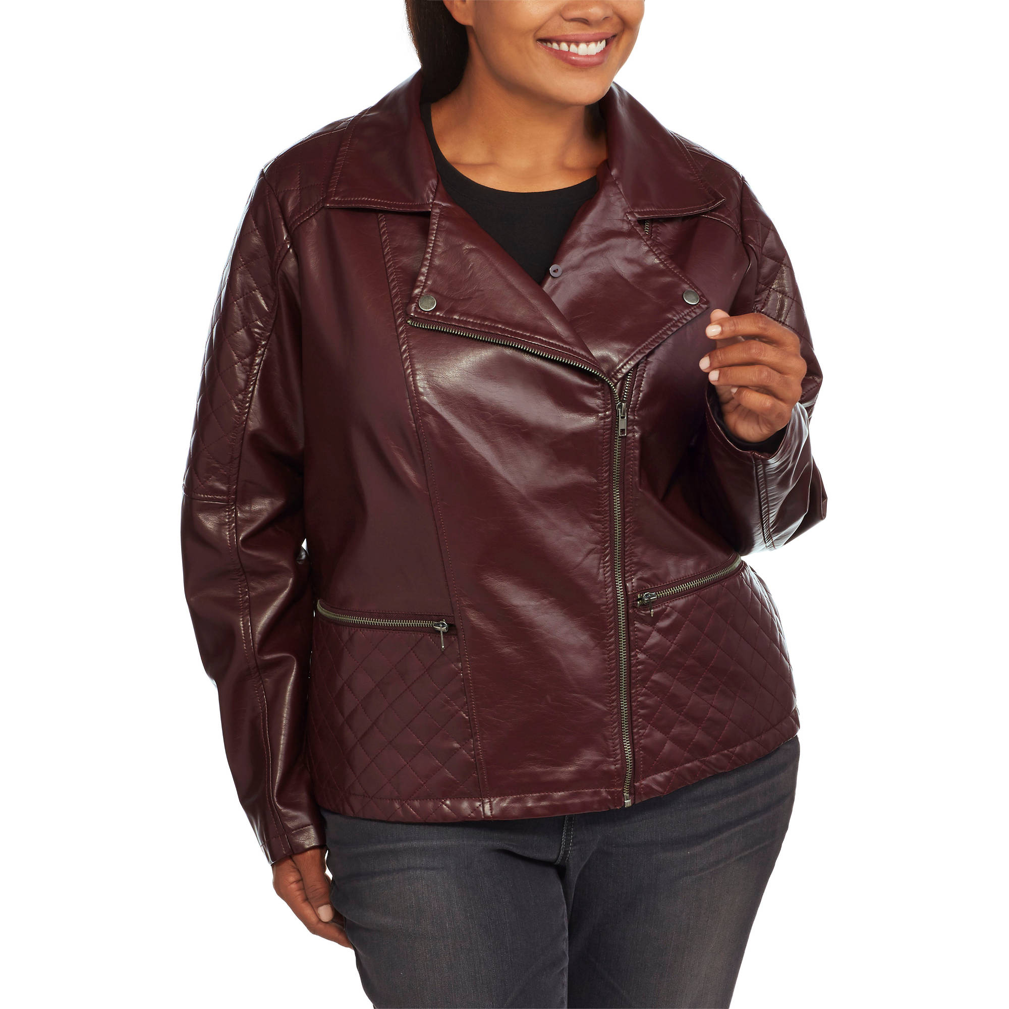 Maxwell Studio Women's Plus-Size Faux Leather Moto Jacket With Removable Fur Collar