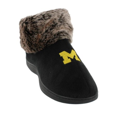 Happy Feet Mens and Womens Michigan Wolverines NCAA Faux Sheepskin Furry Top (Michigan Wolverines Slippers)