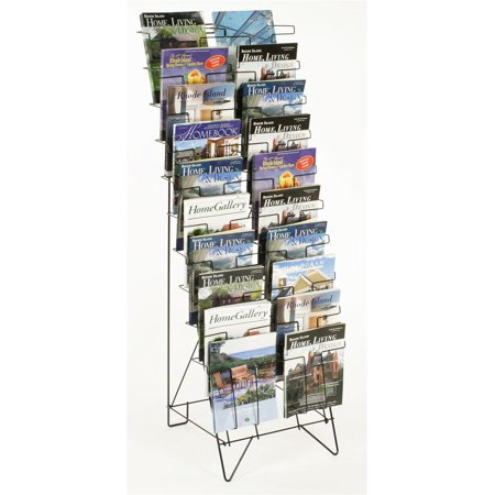 2 Tier Magazine - Displays2go Tiered Black Wire Magazine Rack, Free Standing Floor Fixture with 20 Stacked Pockets, Sign Slot (WRF10T19)