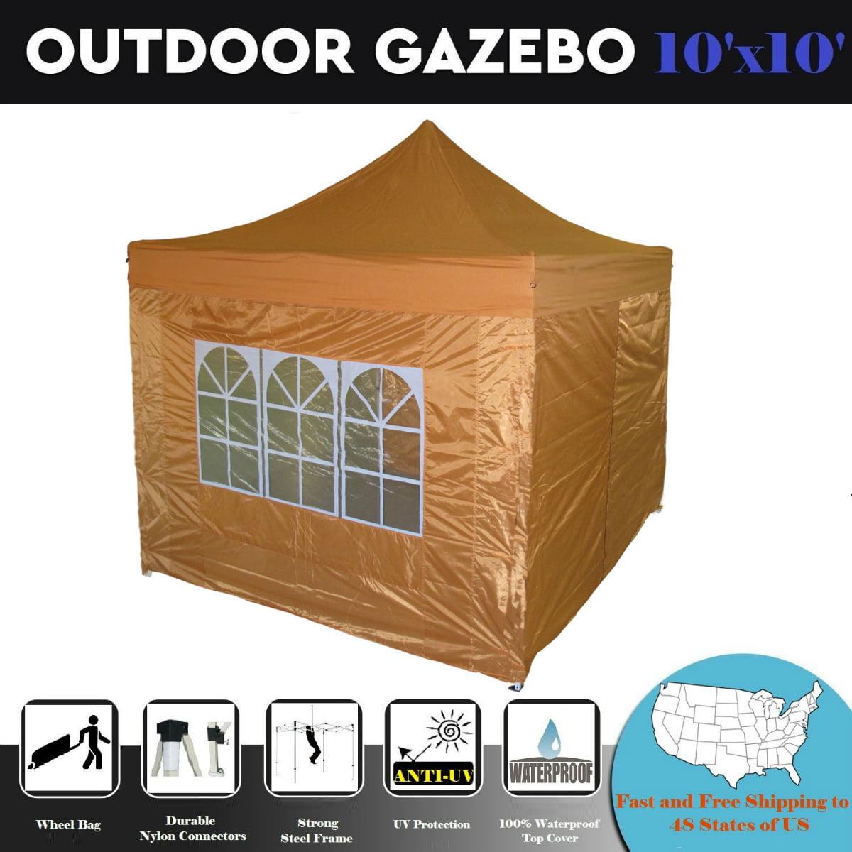 10'x10' Pop up Canopy Wedding Party Tent Gazebo EZ Burnt Orange