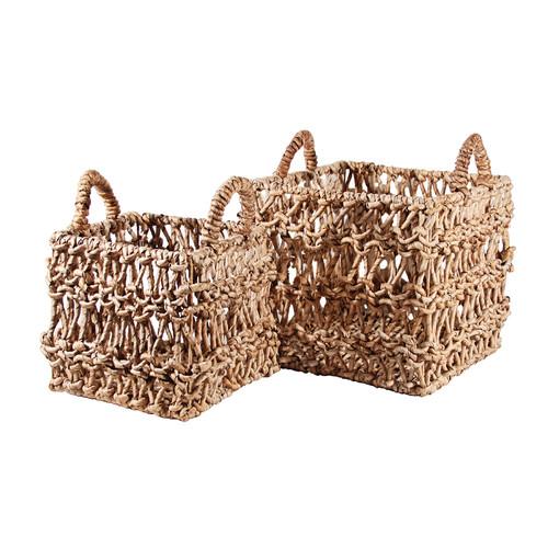 Ibolili 2 Piece Square Banana Leaf Ship Basket Set