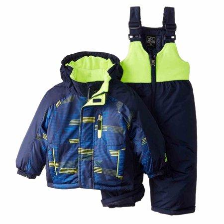 Zero Xposur Infant Toddler Boys Blue Yellow Snow Bibs Coat Set Snowsuit