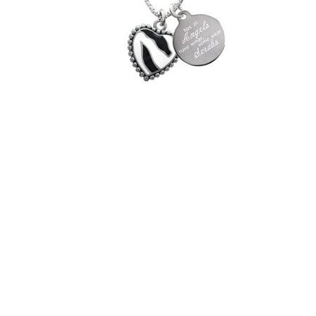 Enamel Zebra Print Heart Not All Angels Have Wings Some Wear Scrubs Engraved -