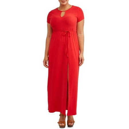 Juniors' Plus Size Keyhole Maxi Dress