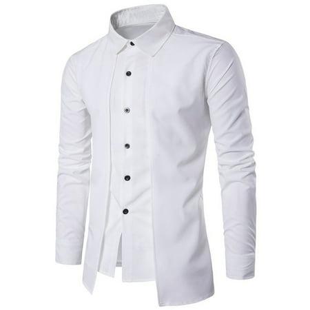 2a57cef1d21 PODOM - Men s Fashion Long Sleeve Slim Fit Comfy Oxford Shirt - Walmart.com