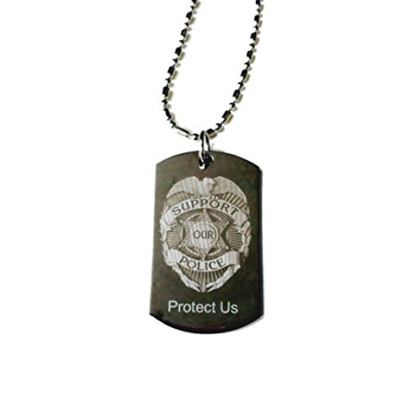 Dog Tags Chain (Police Policeman Prayer Your Protection Double Sided Logo - Military Dog Tag, (Silver Chrome) Luggage Tag Metal Chain)