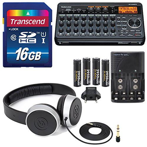 Tascam DP-008EX 8-Track Digital Pocket studio Along with Samson Studio Headph... by Tascam