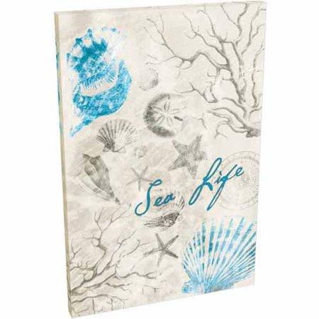 Sea Life Sea Shell Coral Star Fish Drawing Coastal Painting Blue & Tan Canvas Art by Pied Piper Creative