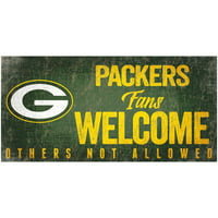 "Green Bay Packers 6"" x 12"" Fans Welcome Sign - No Size"